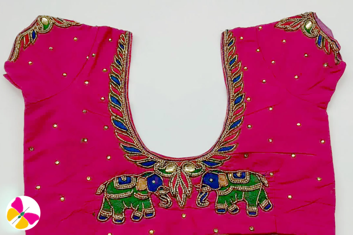 Gorgeous Aari work elephant embroidery