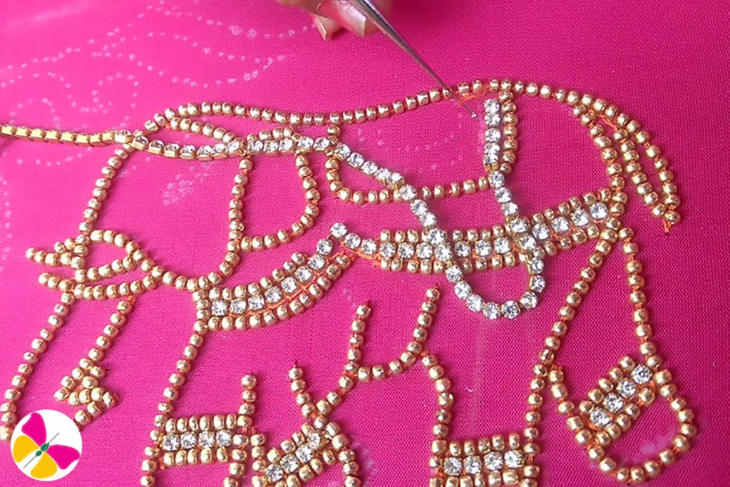 Stone chain stitching